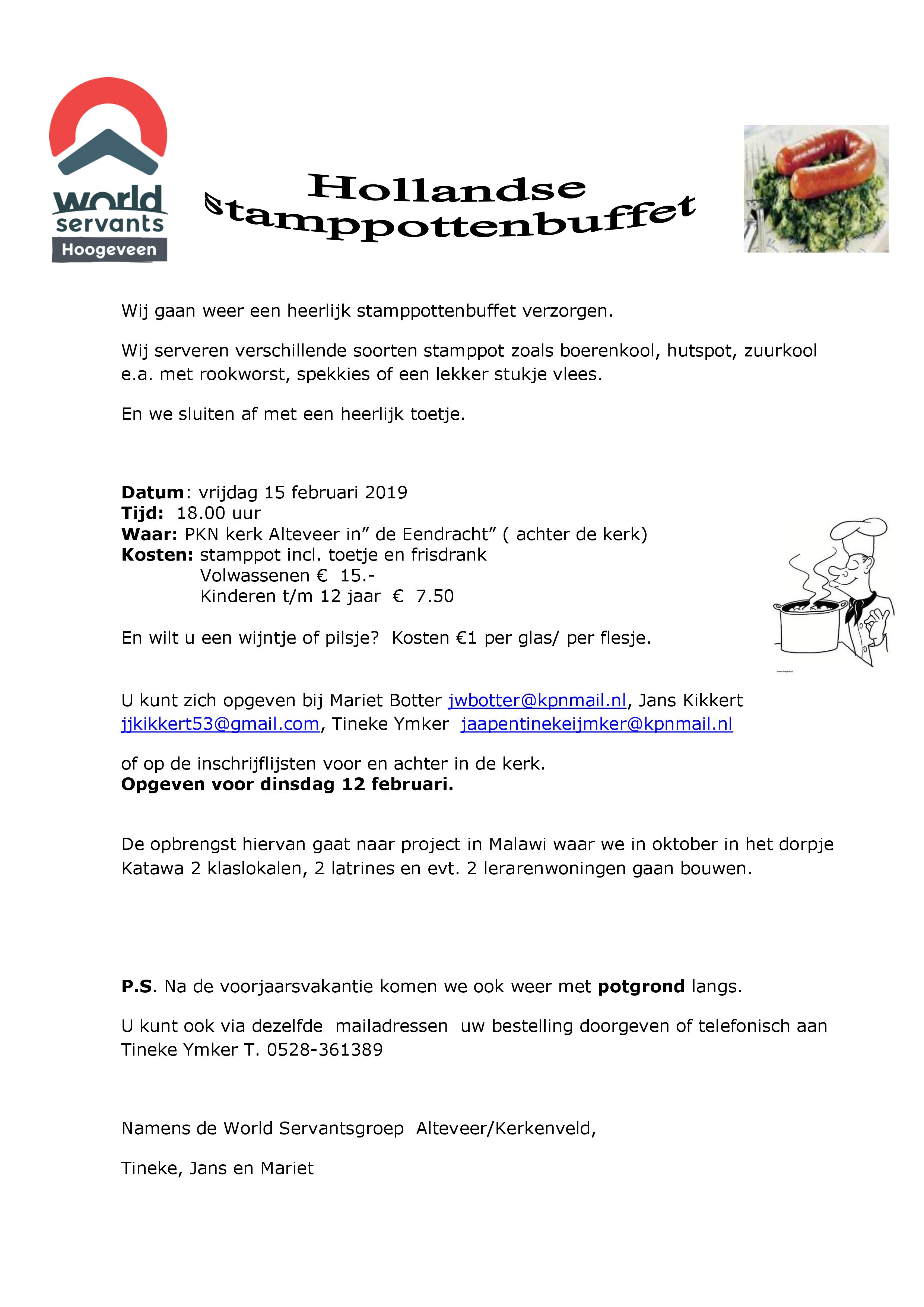 Hollandse stamppottenbuffet t.b.v. World Servants